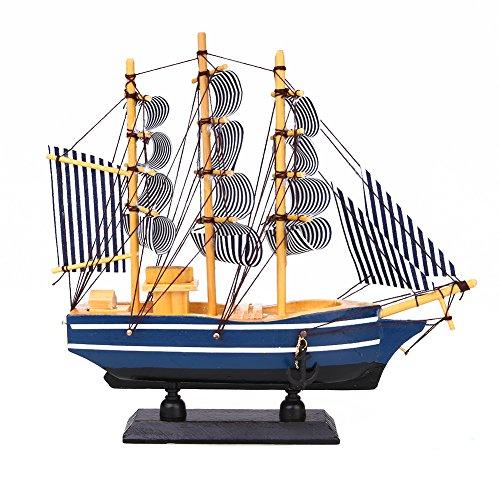 Kicode Estilo Mediterráneo Buque Velero Coleccionable Modelo de Madera Artificial Regalo de la Decoración Náutica Adornos Marina mercante