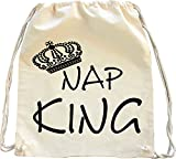 Mister Merchandise Turnbeutel natur Rucksack Nap King Schlafen Schläfchen Mittagsschlaf Couch Sofa Beutel Tasche Natur