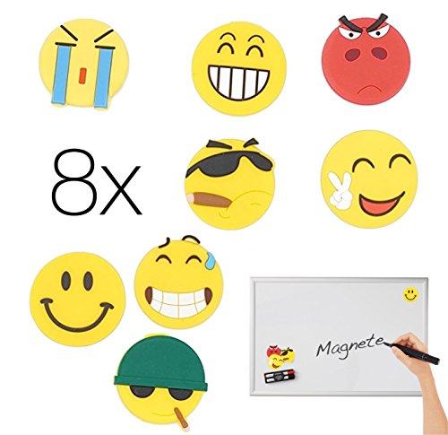 8x Magnete Magnet Smiley, Emoji, Whiteboard, Pinnwand, Tafel, Kühlschrank Kühlschrankmagnete Belohnungstafe Kühlschrank Magnetwand Whiteboard (Kühlschrank-magnete Emoji)
