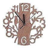 Pinkcream moderno 3D in legno albero e uccello orologio da parete analogico soggiorno Home Office