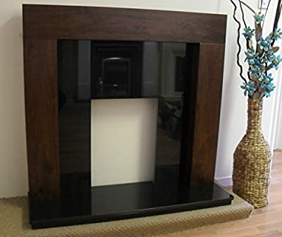 """Mango Walnut Fireplace Surround Black Granite Stone Back Panel & Hearth Electric or Gas Fire Lights Suite Downlights 48"""""""