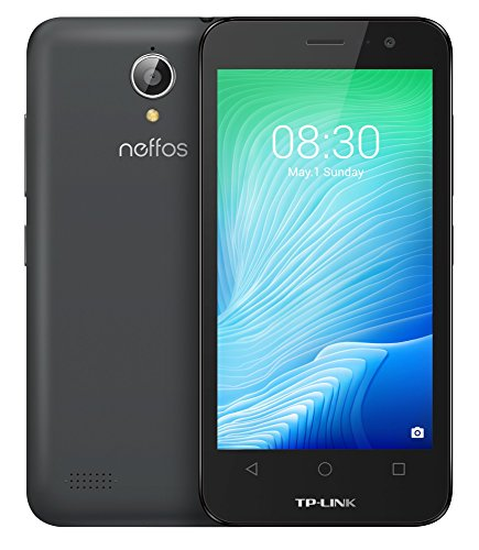 TP-LINK Neffos Y5L - Smartphone de 4.5'' (3G , Android 6.0, Quad-core, 8 GB ROM y 1GB RAM, dual sim, Bluetooth, WiFi), color gris oscuro