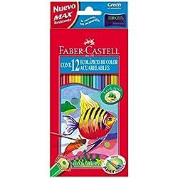Faber-Castell 120212 - Estuche de 12 ecolápices de color acuarelable, 1 pincel y afilalápices de regalo