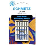 Schmetz Gold Titanium Embroidery Needle Range (Packs of 5) (75/11 (Finest)) by Schmetz