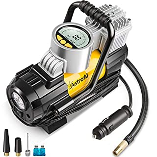 AstroAI Digital Tyre Inflator Pump, Portable Air Compressor 100 PSI 12V Electric with Extra Nozzle Valve Adaptors, LED Light And Fuse for Car Bike and Other Automobiles (Yellow)