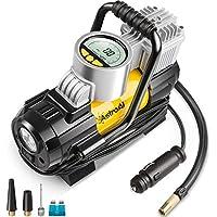 AstroAI Compressore Auto 12 V Aria Portatile Professionale con LED, Manometro Digitale, Schermo LCD, Adattatori e Fusibile 35 Litri/Min Gonfiatore Elettrico per Auto Moto Bici