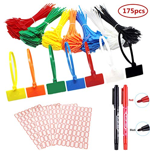 175 pezzi stringicavi etichette per fascette per cavi colorate marcatura con etichette bianche da 264 pezzi e marcatore a 2 pezzi per gestione cavi, gestione del cavo
