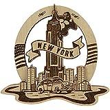 Wood Engraved New York King Kong Fridge Magnet Souvenir Gift