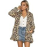 Selou Damen Langärmeliger Leoparden-Print Bedruckter Taschenmantel Mode langen MantelDünne sexy Baumwollkleidung der Frauen Dickes warmes Bankettkleid Schicke Strickjacke