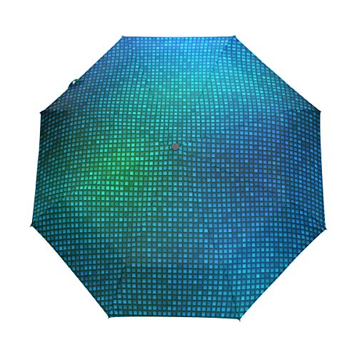 FAJRO Blue Light Mosaic Background three fold Travel Umbrella Automatic Umbrellas for Rain Outdoor/Women/Men