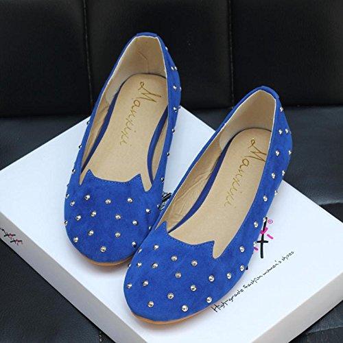 LvYuan-mxx Chaussures plates pour femmes / Printemps été automne / Casual / rivets en métal / talons plats Round toe / Office & Career Dress BLUE-37