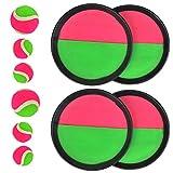 TIMESETL Catch Ball e Toss Game Set, Disco Toss e Catch Paddle Game con 1 Borsa di stoccaggio, 4 Paddle e 4 Palle (2 Dimensioni)