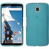 PhoneNatic Case für Google Nexus 6 Hülle Silikon blau, brushed + 2 Schutzfolien