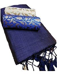 SilverStar Women's Kalkatta Cotton Fabric Complete Corner Silk Frill Plain Saree With Brocade Work Dual Blouse...