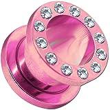 1 Pezzo o Set Flesh Tunnel Estensore Plug Piercing Acciaio e Taper Dilatatore rosa strass cristal 1,6-10mm