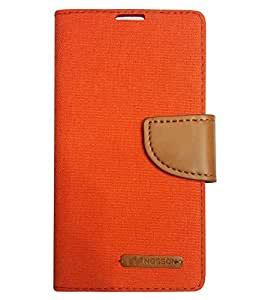 Aart Fancy Wallet Dairy Jeans Flip Case Cover for NokiaN520 (Orange) By Aart Store