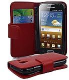 Cadorabo Hülle für Samsung Galaxy ACE 2 - Hülle in CHILI ROT – Handyhülle mit Kartenfach aus glattem Kunstleder - Case Cover Schutzhülle Etui Tasche Book Klapp Style