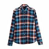 IZHH Herren Kariertes Hemd, Button Down Hemd Hemd Mit Stehkragen Karohemd Oversize Shirt Herrenhemden Langarm Casual Top Bluse Shirts(Blau,L)