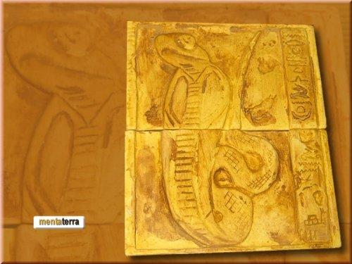Ägyptische Dekorfliese Kobra (2 FLiesen) Terrarium Deko Rückwand