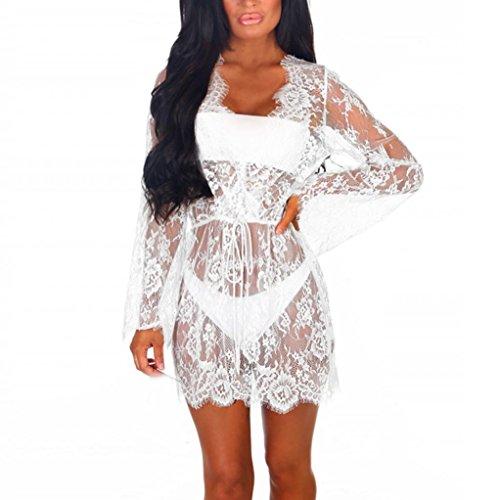 OSYARD Damen Mode Spitze V-Ausschnitt Langarm Dressing Babydoll Lace Sonnencreme Cardigan(Free Size, Weiß)
