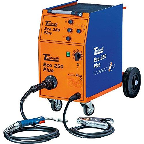 TECHNOLIT Eco 250 Plus Schutzgasschweißanlage MIG MAG Schweißgerät 250A 400V inkl. 4m TB25 Schlauchpaket & Zubehör