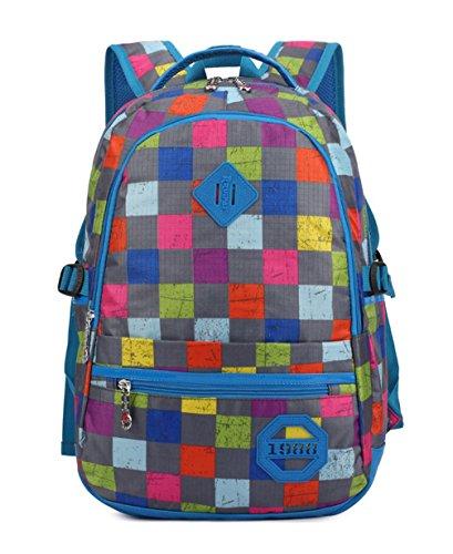 Keshi neuer Stil Schulrucksäcke/Rucksack Damen/Mädchen Vintage Schule Rucksäcke mit Moderner Streifen für Teens Jungen Studenten Blau