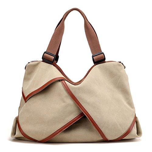 UGOOO Damen Schultertasche Canvas Totes Hobo Bag mit einfachem Stil (Khaki)