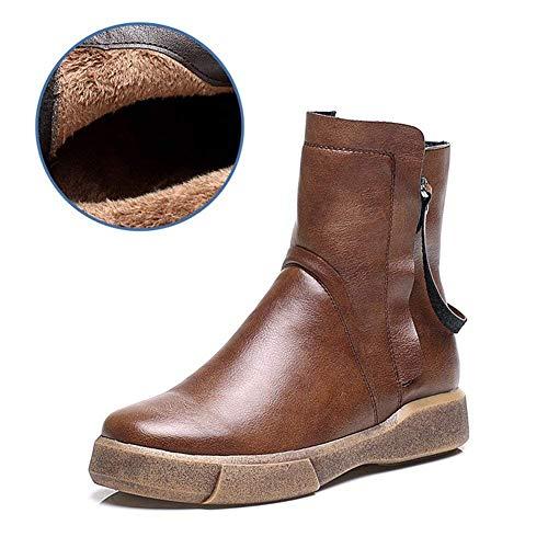 DEED Casual Women 'S Schuhe Retro Flat Bottom Reißverschluss Warm Heel Short Boots,35 EU,Brown Brown Womens Heels