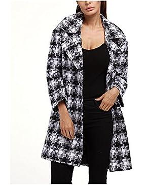 Donna Inverno Griglia Giacche Allentato Vestito - Moda Classico Bavero Maniche Lunghe Cappotto di Lana Caldo cappotti