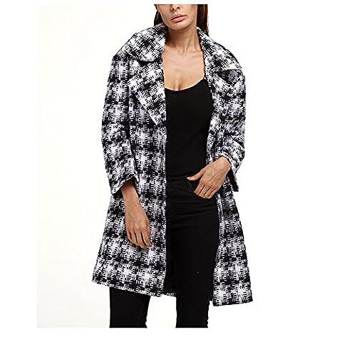 Femmes Hiver Plaid Loose blousons- Mode Revers manches longues manteau de laine chaude Grande taille (3XL, Noir et blanc)