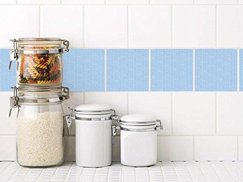 Badezimmer-fliesen Akzente (Graz Design® Fliesenfolie selbstklebend Dekofliesen hellblau mit weißen Akzenten Muster Set (10x10cm // Set 40 Stück))