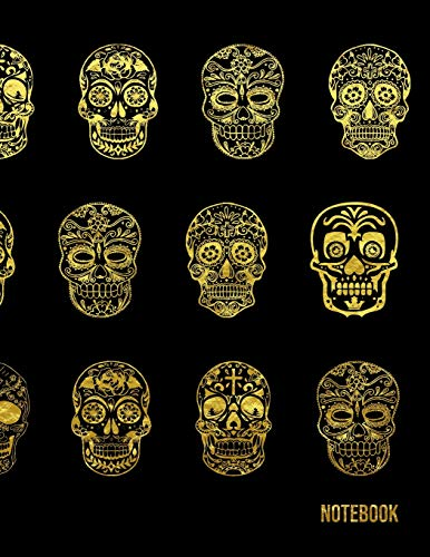(Notebook: Large 5 x 5 Math Graph Paper Grid Squared For Middle High School Kid And College Student - Sugar Skull Gold Pattern (8.5