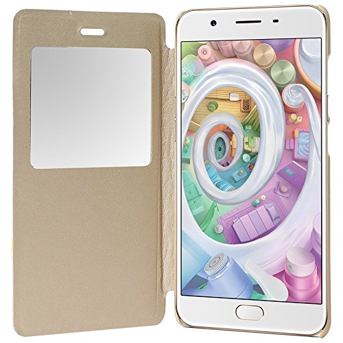 SDO™ Designer Textured S-View Window Leather Finish Genuine Flip Cover for Oppo F1S (Gold)  available at amazon for Rs.179