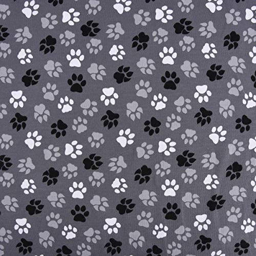 SCHÖNER LEBEN. Baumwolljersey Jersey Stoff Pfoten Tatzen grau schwarz weiß 1,45m -