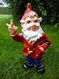 Gartenzwerg Rot Lila mit Stinkefinger ca.32 cm Zwerg Figur Gag Dekoration Deko