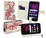 Emartbuy® Alcatel One Touch Pixi 4 ( 5.0 ) 3G PU Cuero Funda Wallet Soporte Carcasa Case Cover PU Cuero con Tarjeta de Crédito Slots - Rosa Flor