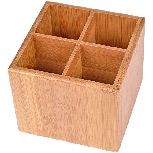 GRÄWE Bambus-Aufbewahrungsbox mit Unterteiler, 12 × 12 cm (Besteck Aufbewahrungsboxen)