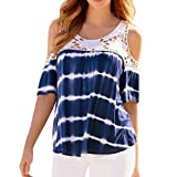 OSYARD Damen Plus Size Casual Cold Shoulder Spitze Splice Kurzarm Bluse Shirt Top(EU 46/XL, Blau)
