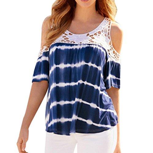 OSYARD Damen Plus Size Casual Cold Shoulder Spitze Splice Kurzarm Bluse Shirt Top(EU 42 / M, Blau) - Ralph Lauren-gerippte Jersey
