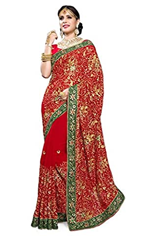 Mirchi Fashion Women's Red Faux Georgette Heavy Hand Work Bridal