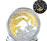 Ogle impermeable oro Phoenix negro fases y Tourbillon luna cadena llavero automático mecánico reloj de bolsillo