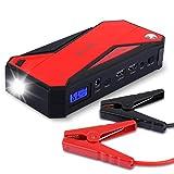 600A Spitzenstrom 18000mAh Tragbare Auto Starthilfe Autobatterie Anlasser Externer Akku Ladegerät mit Kompas, LCD Display und LED Taschenlampe für Laptop Smartphone Tablet und vieles mehr (Schwarz/Rot)