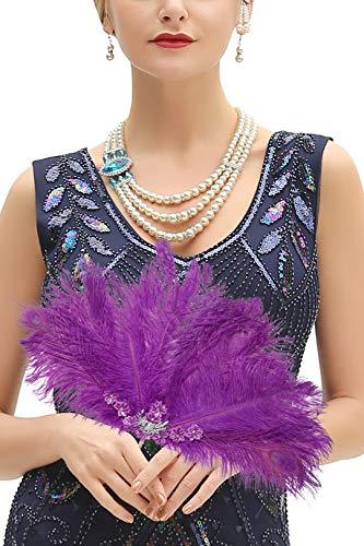 Metme Roaring 20s Feather Fan Falten Handheld Flapper Marabou Feather Hand Fan für Kostüm Dance Party Gatsby Zubehör