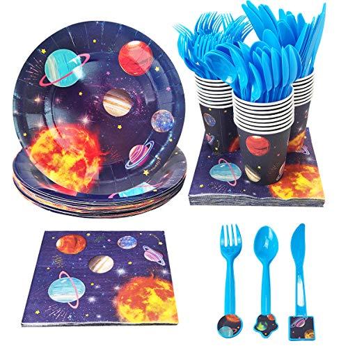 irr-Set -- Papier Teller, Becher, Serviette and Messer, Löffel, Gabel, Weltraum, Sonnen System, Planeten Party zubehör & Dekoration für Kinder (Bedient 24 Personen) ()