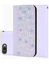 Nadoli Glitzer Hülle für Huawei Honor 10,Bling Flip PU Leder Schütz mit Bookstyle Stand Klapphülle Bumper Case Cover für Huawei Honor 10,Weiß