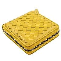 MISSAMMY Sheepskin Leather Basket Weave Design Short Zipper Wallet Purse for Ladies (YELLOW)
