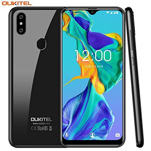 OUKITEL C15 pro Dual 4G SIM Smartphone ohne Vertrag,6.088 Zoll HD+ Waterdrop Display,Android 9.0,MT6761 Quad-core 2.0Ghz,2GB RAM+16GB ROM,8MP+2M+5MP Kameras,3200mAh,günstig Ultra dünn Handy (Schwarz)