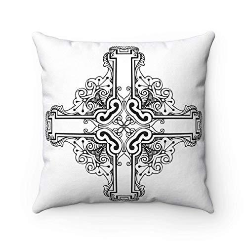 Odin sky Kreuz dekorative Kissen gleich bewaffneten Kreuz modernen viktorianischen Wohnkultur keltischen heidnischen Boho Chic Square Kissen 18 x 18 Zoll (Viktorianische Kissen)