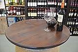 Holz Tischplatte Nussbaumoptik D80 cm - 3fach verleimte Fichte (Nussbaum)