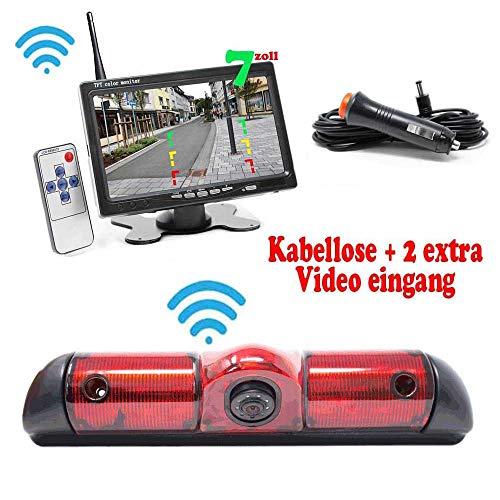 """HSRpro Kabellose Funk Rückfahrkamera Komplettset (Mit FIAT Ducato, Peugeot Boxer & Citroen Jumper Kompatibel) Bremslicht Camera Kamera inkl. 7\"""" Monitor"""